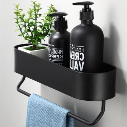 Bathroom Shelf Rack Kitchen Wall Shelves Bath Towel Holder Black Shower Storage Basket Kitchen Organizer Bathroom Accessories