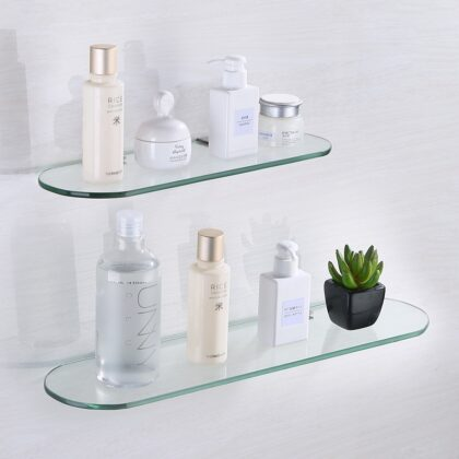 Bathroom Hardware Accessories Wall Hanging Storage Rack Bathroom Glass Corner Shelf Metal Base Cosmetic Organizer 30/40/50/60cm