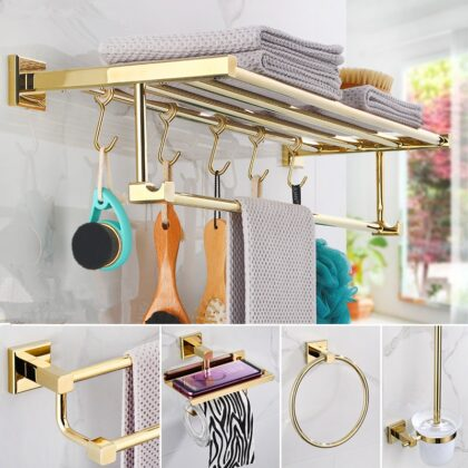 Bathroom Accessories Towel Rack,Paper holder Toilet Brush Holder,Towel Ranger,Hooks Brass Material Gold Bath Hardware Sets