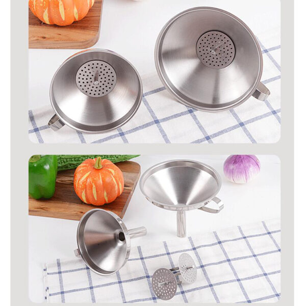 Stainless Steel Funnel With With Filter Strainer Fuel Water Liquid Lab Car Kitchen Tool Beer funnel for Spices Essential Oil