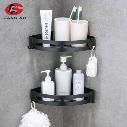 Bathroom Shelves Shower Shelf Bath Corner Shampoo Storage Rack Wall Mounted Aluminum Bathroom Basket Holder Kitchen Accessories