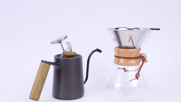 Wholesale glass coffee maker with stainless steel filter pour over coffee filter glass coffee maker set
