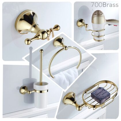 Luxury Polished Gold Bath Hardware Set Wall Mounted Towel Holder Rack Soap Dish Towel Bar Shelf Shower Bathroom Accessories
